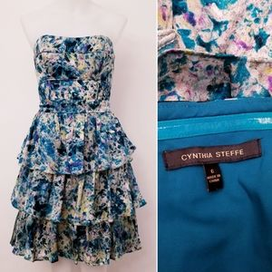 CYNTHIA STEFFE Crystal Jacquard Strapless Dress 6